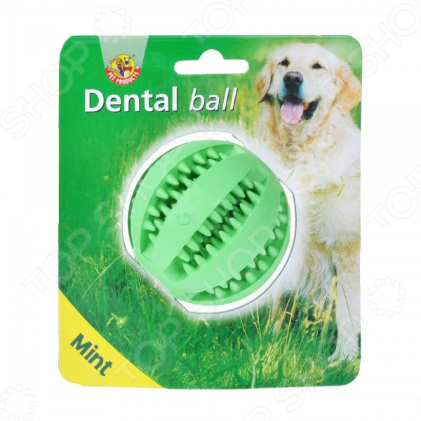 Владельцы собак знают как это важно правильно следить за состоянием зубов своего четверного друга, ведь от этого напрямую зависит его общее состояние здоровья и самочувствие. Сейчас есть множество практичных решений этой деликатной зубной проблемы. Среди многообразия предлагаемых товаров для собак вы можете найти и специальные зубные щетки, игрушки с очищающим эффектом, и даже оригинальные зубочистки-косточки. Но если с первыми дело обстоит не так просто, резиновые массажные и очищающие игрушки вполне пришлись собакам по душе. Мяч массажный для зубов и десен собак Beeztees Dental Mint удобная и практичная игрушка, с которой будет интересно играть и приятно грызть. Она эффективно предотвращает появление и развитие зубного камня, а также служат надежной профилактикой заболевания десен. Уникальная продуманная конструкция прекрасное очищает межзубное пространство, одновременно массируя десна и нормализуя кровоток. Приятный мятный аромат будет привлекать вашего питомца, поэтому он не захочет расставаться с мячиком. Косточка выполнена из высококачественного и безопасного для здоровья животного материала резины, который также не будет травмировать полость пасти собаки во время игры.
