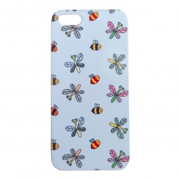 фото Чехол для iPhone 5 Mitya Veselkov «Стрекозы и пчелки». Цвет: голубой