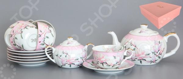Чайный набор с чайником Elan Gallery «Орхидея на розовом»
