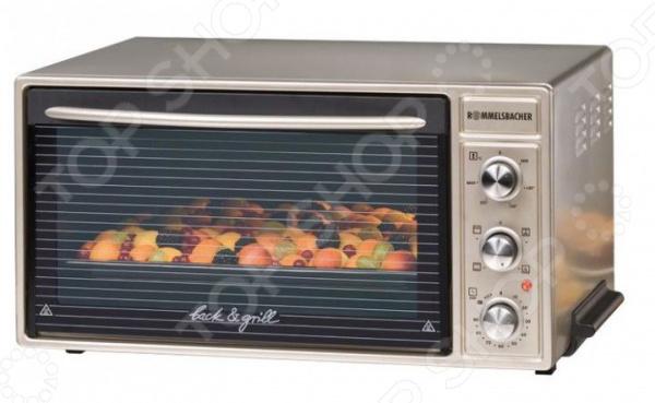 Мини-печь Rommelsbacher BG 1650Настольные мини-печи<br>Мини-печь Rommelsbacher BG 1650 мини-духовка, которая послужит хорошим дополнением на кухне. В ней можно легко приготовить птицу, рыбу или пирог. Дверца эффективно сохраняет тепло внутри, обеспечивая экономию энергии. Отличный вариант для тех, кто любит готовить вкусно и много. Особенно хорошо подойдет для готовки во время праздников и семейных торжеств. Печь имеет механический тип управления, которое осуществляется с помощью поворотных переключателей на удобно расположенном блоке. Таймер поможет запланировать время приготовления блюда. Устройство оснащено системой равномерного распределения микроволн, что бы блюдо нагревалось со всех сторон. Внутреннее пространство с покрытием CLEAN для лучшей очистки. А благодаря прозрачной дверце можно с легкостью контролировать весь процесс готовки. Верхний и нижний ТЭН, включаются по одному или совместно. Вмещает форму для выпечки размером до 36 см в диаметре и противень до 40 см. Режимы: верхний и нижний нагрев, с без конвекции - нижний нагрев, с конвекцией - мощный гриль 1 450 Вт . Преимущества:  Антипригарное внутреннее покрытие.  Таймер на 90 минут.  Сигнал окончания готовки.  Выдвижные ручки для управления.  Двойное термостойкое стекло.  Плавная регулировка температуры от 60 C до 250 C.<br>
