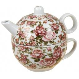 фото Чайник заварочный с чашкой Rosenberg 9314. Рисунок: корейская роза