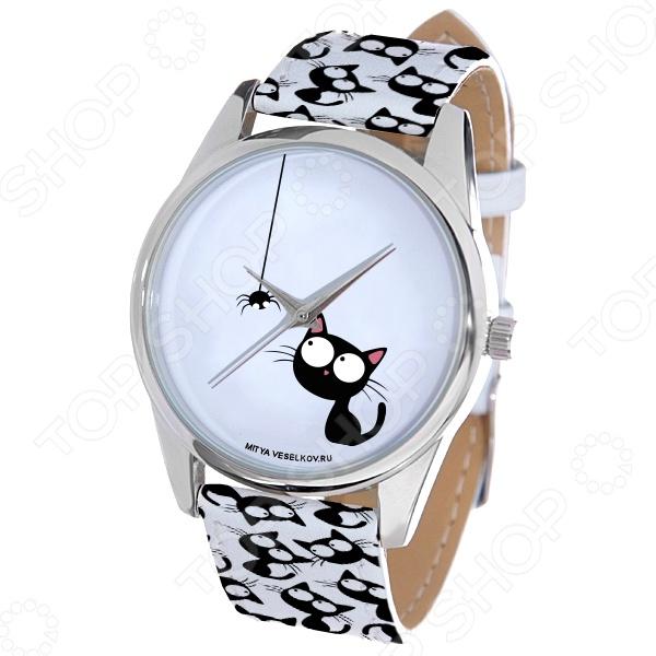 Часы наручные Mitya Veselkov «Кошка и паучок» ARTНаручные часы унисекс<br>Часы наручные Mitya Veselkov Кошка и паучок ART стильный аксессуар, который дополнит ваш образ. Сочетаются с необычной и яркой одеждой. Часы выполнены в оригинальном стиле в сочетании с приятными и мягкими тонами, которые добавляют настроение. Дизайн и ручная сборка Митя Весельков. Снабжены регулируемым под запястье ремешком из натуральной кожи с классической застежкой. Часовой механизм: кварцевый, Citizen Япония . Стекло минеральное с PVD покрытием. Корпус изготовлен из сплава металлов, а крышка из стали.<br>