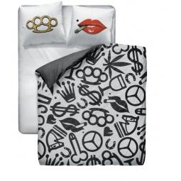 фото Комплект постельного белья Унисон «Кастет губы». 1,5-спальный