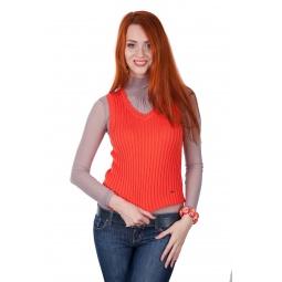 фото Жилет Mondigo 9007-54. Цвет: коралловый. Размер одежды: 42