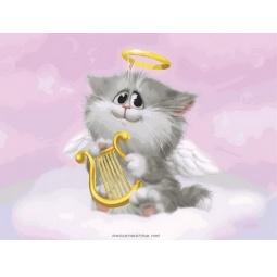 фото Раскраска по номерам Белоснежка 744-AS «Котенок-ангелочек»