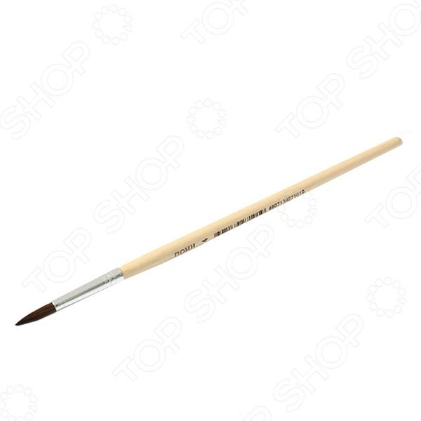Кисть круглая Beifa «Пони» №4Кисти. Мастихины<br>Кисть круглая Beifa Пони 4 великолепно подходит для работы водорастворимыми красками: акварелью, темперой и гуашью. Кисть из волоса пони хорошо впитывает и отдает краску, причем волос относится к оформительской группе, потому не имеет вершинки, а в конус собирается за счет формы рабочей части. Удобная деревянная ручка не будет отвлекать от работы и позволит без устали работать длительные промежутки времени.<br>