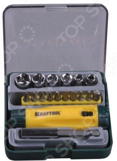 все цены на  Отвертка реверсивная с битами, адаптером и торцевыми головками Kraftool Expert 26143-H18  онлайн