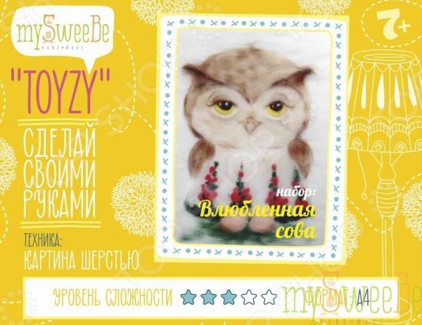 Набор для создания картины из шерсти mySweeBe «Влюбленная сова»