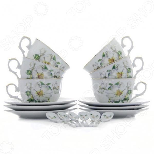 Чайный набор с ложками Elan Gallery «Белый шиповник» 180685 vervaco набор для вышивания лицевой стороны наволочки белый шиповник 40 40см