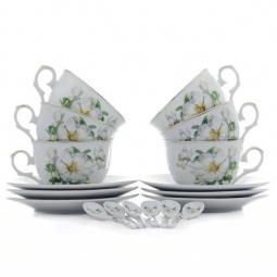 Купить Чайный набор с ложками Elan Gallery «Белый шиповник» 180685