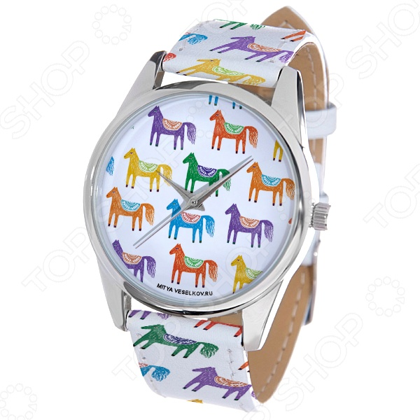 Часы наручные Mitya Veselkov «Цветные лошадки» ARTНаручные часы унисекс<br>Часы наручные Mitya Veselkov Цветные лошадки ART стильный аксессуар, который дополнит ваш образ. Сочетаются с необычной и яркой одеждой. Часы выполнены в оригинальном стиле в сочетании с приятными и мягкими тонами, которые добавляют настроение. Дизайн и ручная сборка Митя Весельков. Снабжены регулируемым под запястье ремешком из натуральной кожи с классической застежкой. Часовой механизм: кварцевый, Citizen Япония . Стекло минеральное с PVD покрытием. Корпус изготовлен из сплава металлов, а крышка из стали.<br>