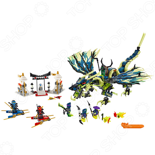Конструктор игровой LEGO «Атака Дракона Морро»Конструкторы LEGO<br>Не секрет, что конструкторы LEGO являются одними из самых популярных и продаваемых игрушек в мире. Компания LEGO Group начала свое существование еще 1932 году и до сих пор не сдает лидирующих позиций, ежедневно расширяя свое производство и сферу деятельности. Конструкторы этого бренда отличаются великолепным качеством исполнения и большим разнообразием игровых сюжетов. Конструктор игровой Lego Атака Дракона Морро станет отличным подарком для вашего любимого чада и прекрасным дополнением к коллекции уже имеющихся игрушек LEGO. На этот раз малышу придется вместе с членами команды отважных Ниндзя схлестнуться в жестокой битве с гигантским драконом, управляемым духом призрачного Морро. В игровой набор входит сборная гробница и шесть минифигурок: Скриммер, мастер боевых цепей Рейт, злой зеленый Ниндзя, Кай, Джей, Коулер и Йокай. Рекомендовано для детей в возрасте от 8-ми лет.<br>