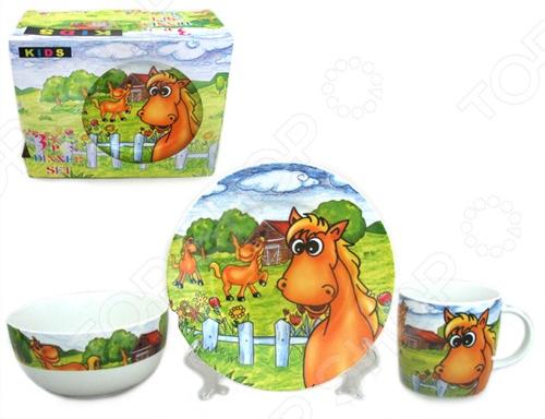 Набор посуды для детей Elan Gallery Лошадки на лугу состоит из тарелки, миски и чашки для утреннего чая. Яркие цвета и рисунки стимулируют аппетит. Изделия можно мыть в посудомоечной машине. Такая посуда подарит настроение и уют вашим детям. Для хранения предоставляется чемоданчик.