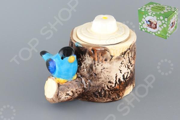 фото Горшочек для меда Elan Gallery «Птичка на пеньке», Банки для мёда. Розетки