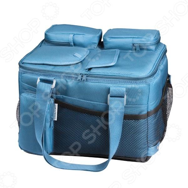 Сумка-холодильник Coolfort CF-1221Термосумки, сумки-холодильники<br>Сумка-холодильник Coolfort CF-1221 идеальна для сохранения продуктов питания в автомобильной поездке, особенно в жаркие летние месяцы. Устройство обеспечивает максимальное охлаждение до 15 С ниже температуры окружающей среды. Уникальный пенополиуретановый слой термоизоляции ThermoFORT, надолго сохранит свежесть продуктов и прохладу напитков. Двухсторонняя вентиляционная система обеспечивает быстрый и постоянный эффект охлаждения. Питание модели осуществляется через автомобильный прикуриватель. Кроме того, имеется возможность подключать холодильник к сети переменного тока 220 Вт. Кабель питания удобно хранить в специальной кармане. Для удобства транспортировки имеются мягкие регулируемые ручки. При необходимости сумка удобно складывается и занимает совсем немного места. Объем сумки-холодильника Coolfort CF-1221 составляет 21 л.<br>