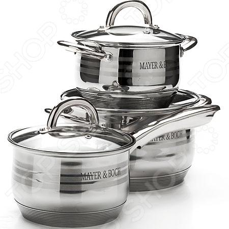 Набор посуды для готовки Mayer&amp;amp;Boch MB-25667Наборы посуды для готовки<br>Набор посуды для готовки Mayer Boch MB-25667 станет отличным дополнением к набору вашей кухонной утвари. Посуда функциональна и универсальна в использовании, подойдет для варки супов, гарниров, макарон, овощей, компотов и т.д. Кастрюли выполнены из высококачественной нержавеющей стали, а внутренняя поверхность идеально ровная, что облегчает ручное мытьё. Такой материал не вступающим в реакции с продуктами и не искажающим вкус приготовленных блюд. Крышки изготовлены из закаленного жаростойкого стекла, снабжены металлическим ободком для защиты от сколов и пароотводом. При необходимости посуда легко моется в посудомоечной машине.<br>