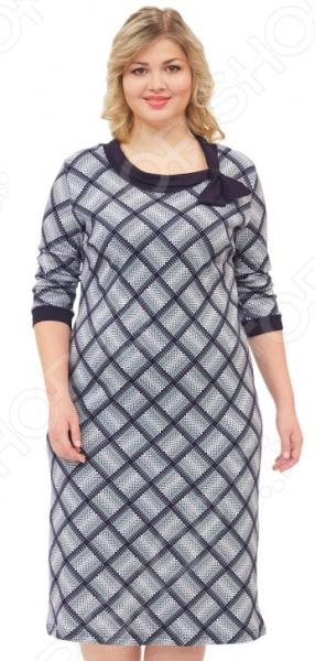 Платье El Fa Mei «Амалия»Повседневные платья<br>Платье El Fa Mei Амалия это стильное платье, которое поможет вам создавать невероятные образы, всегда оставаясь женственной и утонченной. Благодаря классическому крою оно скроет недостатки фигуры и подчеркнет достоинства. В этом платье вы будете чувствовать себя блистательно как на работе, так и на вечерней прогулке по городу.  Универсальная длина ниже колена и слегка приталенный силуэт скрывают недостатки и подчеркивают достоинства, поэтому платье подходит женщинам с любой фигурой.  Круглый вырез горловины, украшен бантом.  Рукав . Отделка рукава тканью в цвет воротника. Платье изготовлено из плотной ткани 100 хлопок , благодаря чему материал не скатывается и не линяет после стирки.<br>