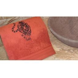 фото Полотенце подарочное с вышивкой TAC Tiger. Цвет: терракотовый