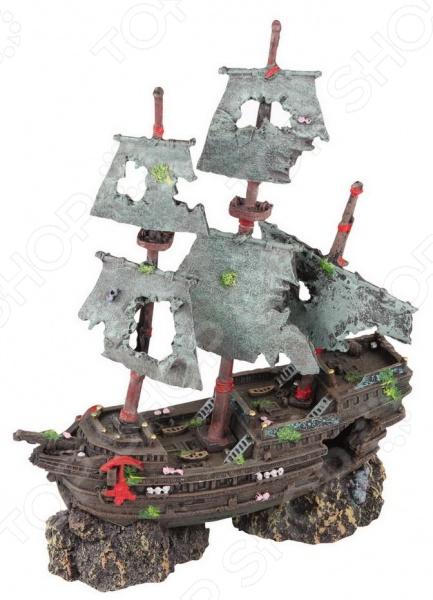 Корабль для аквариума DEZZIE «Призрак»Аквариумный дизайн<br>Корабль для аквариума DEZZIE Призрак не только позволит вам оригинально оформить аквариум, добавив ему еще большего сходства с морскими глубинами, но и станет своеобразным местом укрытия для рыбок. Грот выполнен в виде затонувшего корабля, отличается высокой степенью детализации и выглядит совсем как настоящий. Аквадекор изготовлен из высокопрочного пластика; не загрязняет воду и не выделяет вредные вещества.<br>