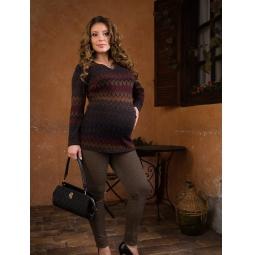 фото Блузка для беременных Nuova Vita 1358.01. Цвет: сине-коричневый. Размер одежды: 48