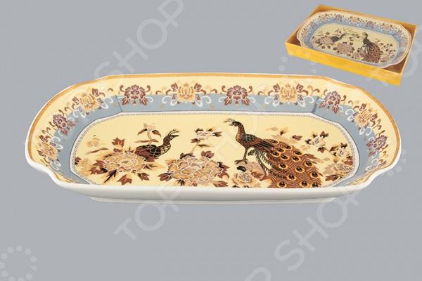 фото Блюдо для слоеных салатов Elan Gallery «Павлин на бежевом», Салатницы