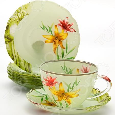 Чайный набор Loraine LR-24121Чайные и кофейные сервизы и наборы<br>Чайный набор Loraine LR-24121 рассчитан на шесть персон. Он внесет яркий акцент в сервировку стола и станет отличным дополнением к набору ваших кухонных принадлежностей. Посуда выполнена из высококачественного стекла и украшена оригинальным цветочным рисунком. Торговая марка Loraine это синоним первоклассного качества и стильного современного дизайна. Компания занимается производством и продажей кухонных инструментов, аксессуаров, посуды и т.д. Функциональность, практичность и инновационные решения вот основные принципы торгового бренда Loraine.<br>