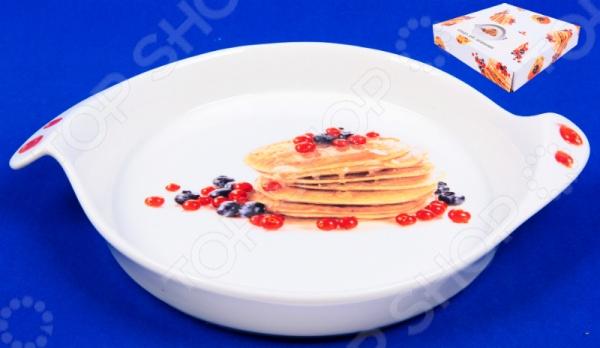 фото Блюдо для запекания Elan Gallery «Блины с ягодами», Керамические формы для выпечки и готовки