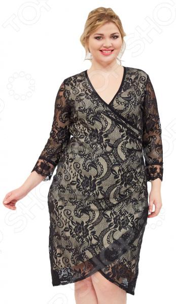 Платье Матекс «Влюбленность». Цвет: бежевыйПовседневные платья<br>Платье Матекс Влюбленность это легкое платье, которое поможет вам создавать невероятные образы, всегда оставаясь женственной и утонченной. Грамотный крой и цвет скрывают недостатки фигуры и подчеркивают достоинства. В этом платье вы будете чувствовать себя блистательно как на празднике, так и на вечерней прогулке по городу.  Оригинальное нарядное платье с дизайном, имитирующим запашной вид.  V-образный вырез горловины визуально удлиняет шею.  Основа платья выполнена из трикотажной ткани, а верх из гипюровой. Материал не тянется.  Длина до колена. Платье сшито из ткани, состоящей на 95 из вискозы и на 5 из полиэстера, а гипюровая часть из 100 полиэстера. Материал не линяет, не скатывается, формы от стирки не теряет.<br>