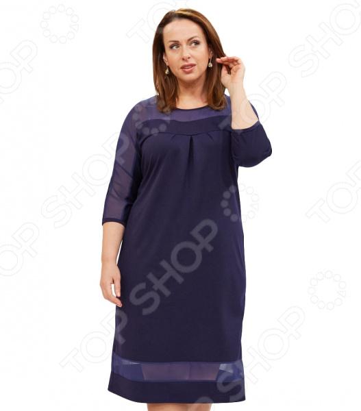 Платье Матекс «Снежный вальс». Цвет: синийПовседневные платья<br>Платье Матекс Снежный вальс это легкое платье, которое поможет вам создавать невероятные образы, всегда оставаясь женственной и утонченной. Грамотный крой и цвет скрывают недостатки фигуры и подчеркивают достоинства. В этом платье вы будете чувствовать себя блистательно как на празднике, так и на вечерней прогулке по городу.  Платье полуприталенного силуэта с рукавами 3 4.  Круглый вырез горловины подчеркнет красоту вашей шеи.  Платье декорировано вставками из сетчатой ткани, что придает ему изюминку.  Длина чуть ниже колена. Платье сшито из приятной ткани хорошо тянется , состоящего на 65 из вискозы, на 30 из полиэстера и на 5 из лайкры; вставки выполнены из 100 полиэстера. Материал не линяет, не скатывается, формы от стирки не теряет.<br>