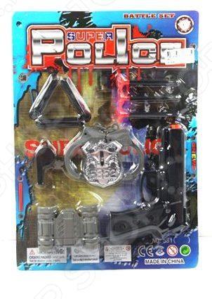 Игровой набор для мальчика Shantou Gepai «Полиция» 581-11Сюжетно-ролевые наборы<br>Игровой набор для мальчика Shantou Gepai Полиция 581-11 детализированный набор полицейского для мальчишек. В набор входит бинокль, оружие, безопасные патроны, компас, полицейский значок, свисток и другие аксессуары. Выполнены предметы из качественного материала, безопасного для ребенка. Набор станет прекрасным подарком для мальчишки и позволит увлекательно и активно провести досуг на свежем воздухе. Также такой набор может стать дополнением тематического новогоднего костюма.<br>