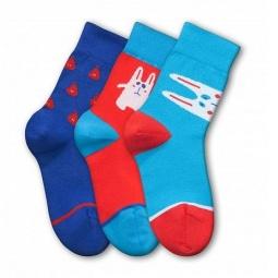 фото Комплект детских носков Teller Hungry Rabbit. Цвет: синий, красный, голубой. Размер: 33-35