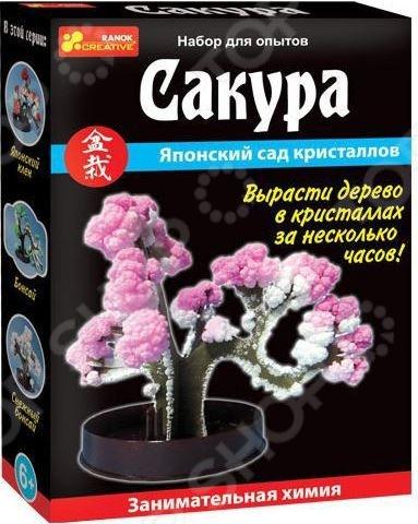 Набор для выращивания Ранок «Японский сад кристаллов. Сакура»Детские наборы для выращивания кристаллов и растений<br>Набор для выращивания Ранок Японский сад кристаллов. Сакура удивительное растение, которое ребенок вырастит собственными руками. Достаточно лишь залить специальную жидкость в поддон, чтобы всего за несколько часов на обычном картонном дереве распустились прекрасные цветы и листья из кристаллов. Главное следовать инструкции, прилагаемой в комплекте, тогда результат не заставит себя ждать. Комплектация:  подставка-держатель;  жидкость для выращивания кристаллов;  дерево из картона;  инструкция.<br>