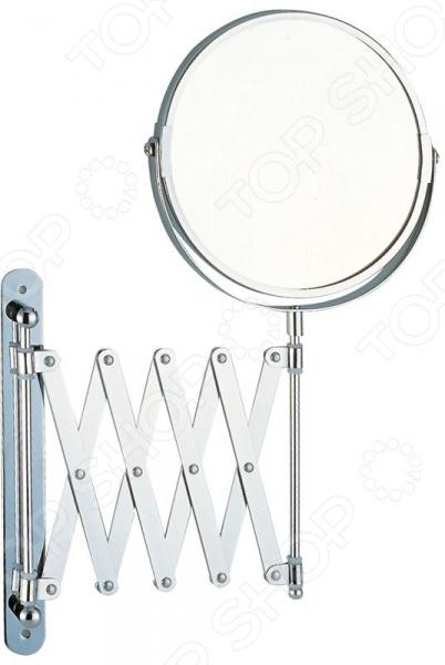 Зеркало косметическое M-1612Зеркала<br>Зеркало косметическое M-1612 двустороннее незаменимый элемент любой ванной комнаты, который станет отличным помощником при создании макияжа, прически и пр. Прочный выдвижной механизм поможет определить нужное положение зеркала относительно освещения длина подвижной основы варьирует от 19 до 60 см, ширина составляет 38 см . Пятикратное увеличение поможет вам рассмотреть даже самые мельчайшие детали на лице. Диаметр зеркала составляет 17 см. Материал основного каркаса: металл с хромированным покрытием, защищающим от воздействия влаги, и стекло. Крепление зеркала осуществляется на стену при помощи шурупов.<br>