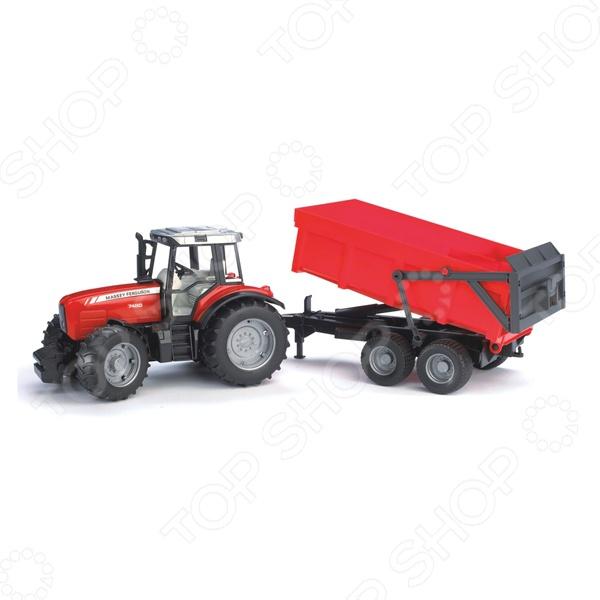 Трактор игрушечный Bruder Massey Ferguson 7480 с прицепом-самосваломМашинки<br>Трактор игрушечный Bruder Massey Ferguson 7480 с прицепом-самосвалом замечательный подарок для любого мальчишки. Оригинальная модель трактора с реалистичным дизайном обязательно понравится своим функционалом. Капот у трактора открывается, руль крутится вместе с колесами, а к фаркопу и специальным приспособлениям можно прикрепить различные прицепы. Передняя ось закреплена на кузове через систему амортизации. Игрушка выполнена из высококачественного безопасного для здоровья пластика. Модель прекрасно сочетается с другими машинками из серии профессиональной техники.<br>