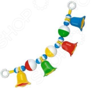 Погремушка-подвеска Стеллар «Колокольчики»Погремушки. Подвески<br>Погремушка-подвеска Стеллар Колокольчики - яркая и красочная погремушка, которая обязательно привлечет внимание малыша не только свои цветами, но и звуковыми эффектами. Погремушка также может выступать в качестве оригинальной подвески на коляску или детский стульчик. Эта простая, но, в то же время, занимательная игрушка позволит развить у малыша внимательность, цветовое и слуховое восприятие, развить мелкую моторику рук и координацию движений. Изделие выполнено из высококачественных материалов, которые совершенно безопасны для детского здоровья.<br>