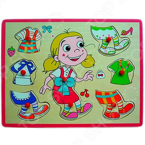 фото Деревянный пазл Винтик и Шпунтик «Одень девочку», Деревянные игрушки для малышей
