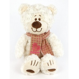 фото Мягкая игрушка Fluffy Family «Мишка Митя с шарфом». Размер: 24 см. Цвет: белый