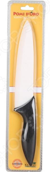 Нож керамический POMIDORO K2078Ножи<br>Нож керамический POMIDORO K2078 надежный и очень острый инструмент из керамики фирмы Kerano. Вы можете быть уверены, что материал лезвия не содержит вредных примесей, которые используются для аналогичных ножей из легированной стали. Главное преимущество керамики также в том, что она не вступает в химическую реакцию с продуктами в процессе резки. В результате вкус пищи остается неизменным, а лезвие не впитывает посторонние запахи. Керамические ножи прослужат очень долго без необходимости дополнительной заточки, если соблюдать несколько простых правил. Первым делом стоит подобрать правильную рабочую поверхность. К примеру, традиционная разделочная доска из дерева прекрасно подойдет для этих целей. Однако лучшим вариантом станет досточка из специального вспененного антибактериального пластика. Не стоит резать замороженные и твердые продукты. Назначение ножа поварской.<br>