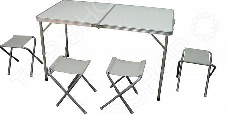 Набор мебели складной WoodLand Picnic Table SetНаборы складной мебели<br>Набор мебели складной WoodLand Picnic Table Set отличный вариант для пикников, кемпинга и дачного отдыха. Он станет отличным дополнением к набору ваших туристических принадлежностей и поможет сделать отдых максимально комфортным. В комплект входит прямоугольный стол и четыре складных табурета. Благодаря легкому весу и складной конструкции, мебель очень удобно брать с собой в поездку. Каркас мебели выполнен из прочного алюминия, а столешница из МДФ. Максимально допустимая нагрузка составляет 30 кг.<br>