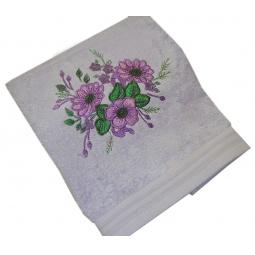 фото Полотенце подарочное с вышивкой TAC Flowers. Цвет: сиреневый