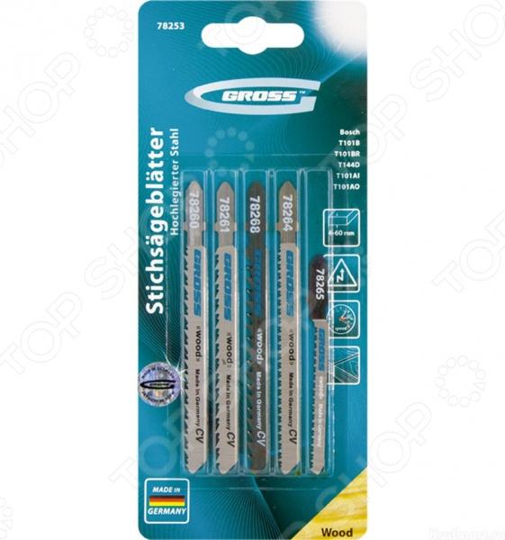 Пилки для электролобзика GROSS 78253Пилки для лобзиков<br>Пилки GROSS 78253 предназначены для распиловочных работ по твердой и мягкой древесине, фанере, ламинированному ДВП и пластмассе при помощи электрического лобзика. В набор входят 5 пилок, которые изготовлены из немецкой хромованадиевой стали и относятся к линейке профессионального инструмента. Для большей эффективности, полотна оснащены Т-образными хвостовиками и зубьями с разным типом заточки, разводки и шагом. Это в свою очередь обеспечивает быстрое и чистое пиление по материалам различной толщины и плотности. Продукция фирмы Gross соответствует всем стандартам качества и безопасности. Все изделия произведены из высококачественных инструментальных сталей и прошли процесс полностью автоматизированной заточки и шлифовки.<br>