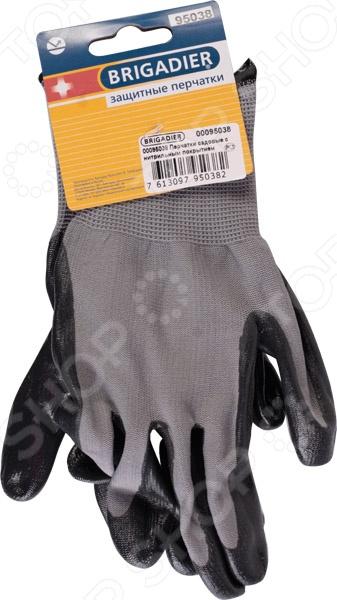 Перчатки с нитрильным покрытием Brigadier 95038Перчатки садовые<br>Перчатки с нитрильным покрытием Brigadier 95038 надежно защитят ваши руки от загрязнения, мозолей, натирания или травм при выполнении широкого спектра садовых или ремонтных работ. Изделия изготовлены из прочного натурального латекса. Благодаря надежной защите от скольжения, вы сможете крепко удерживать любой инструмент. Латексный облив с нитрильным покрытием обладает герметичностью с повышенной стойкостью к истиранию. Тыльная сторона обеспечивает свободную циркуляцию воздуха и комфортную работу в любых условиях.<br>