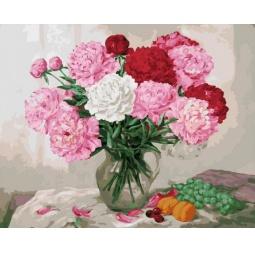 фото Набор для живописи на цветном холсте Белоснежка «Пионы» 052-AB-C