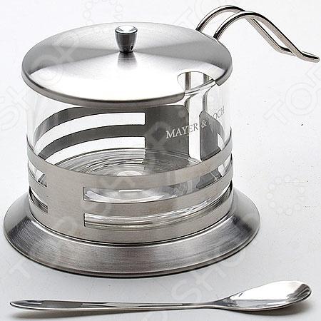 Сахарница Mayer&amp;amp;Boch MB-21259Сахарницы. Конфетницы<br>Сахарница Mayer Boch MB-21259 станет идеальным дополнением вашего повседневного обеденного стола. Данная модель отличается простой и практичной конструкцией, которая представляет собой прозрачную банку в прочной металлической подставке. Подставка выполнена из качественной нержавеющей стали, которая обеспечивает долговечность изделия. Для большего удобства предусмотрена специальная ручка. Сахарница оснащена металлической крышкой со специальным отверстием для ложки. Также в комплект входит металлическая ложка.<br>