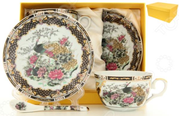 Чайная пара с ложками Elan Gallery «Павлин на золоте» 180794