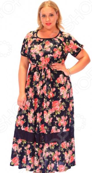 Платье Матекс «Дамасская роза»Повседневные платья<br>Платье Матекс Дамасская роза это стильное платье, которое поможет вам создавать невероятные образы, всегда оставаясь женственной и утонченной. Благодаря полуприталенному силуэту оно скроет недостатки фигуры и подчеркнет достоинства. В этом платье вы будете чувствовать себя блистательно как на работе, так и на вечерней прогулке по городу. Универсальная длина до щиколотки и завышенная талия делают платье одеждой на все случаи жизни, а короткие рукава скрывают полноту руки обеспечивают комфорт в течении всего дня. Горловина и рукава отделаны окантовкой, визуально расставляет акценты формируя женственный силуэт. По низу изделия идет декоративная вставка из сетки. Платье изготовлено из плотной ткани 100 полиэстер , благодаря чему материал не скатывается и не линяет после стирки. Даже после длительных стирок и использования платье будет выглядеть прекрасно.<br>