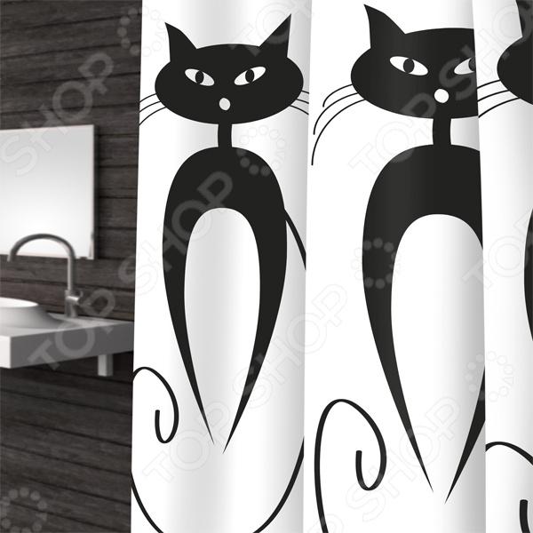 Штора для ванной Bacchetta CatsКарнизы. Шторки для ванной<br>Штора для ванной Bacchetta Cats красивый и практичный аксессуар, без которого невозможно представить ни одну современную ванную комнату. Штора не только привносит уют в интерьер этой комнаты, но и надежно защищает стены и пол от излишней влаги, брызг и капель воды. Плотная и прочная штора изготовлена из 100 полиэстера, который имеет водоотталкивающую и антибактериальную пропитку. В нижний край изделия вшит специальный металлический утяжелитель, поэтому штора не будет раздуваться, словно парус, от потоков горячего воздуха Штора имеет интересный контрастный рисунок в виде очаровательных кошек, который нанесен в соответствии с современными водозащитными технологиями, поэтому он надолго сохранит свой первоначальный цвет и насыщенность. В набор входят 12 колец, которые гармонично сочетаются со шторой и необходимы для её установки. Штора проста в уходе. Её можно стирать при температуре не выше 40 C, не используя при этом отбеливатели и другие абразивные вещества. Не следует тереть, отбеливать или отжимать.<br>