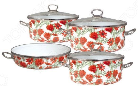 Набор кастрюль и сковорода Bohmann BH-8330Наборы посуды для готовки<br>Набор кастрюль и сковорода Bohmann BH-8330 это то, что необходимо каждой хозяйке. Комплект кухонной утвари станет незаменимым помощником для создания кулинарных шедевров, а процесс готовки превратит в самый настоящий праздник. Набор посуды включает в себя три кастрюли и сковороду, внешняя сторона которых покрыта защитным слоем эмали и украшена декоративным цветочным узором. Внутри также имеется гладкое эмалевое покрытие, которое предотвращает пригорание пищи и способствует равномерному нагреву дна. Этот материал не выделяет вредных компонентов и не вступает в реакцию с продуктами питания. Стальной обод по верхнему краю изделий обеспечивает лучшее их соединение с крышками. Металлические рукоятки надежно закреплены с помощью клепок. В комплекте:  кастрюля большая: диаметр 18 см, высота 9,5 см, объем 1,8л;  кастрюля средняя: диаметр 22 см, высота 11,5 см, объем 3,8л;  кастрюля малая: диаметр 24 см, высота 12 см, объем 4,8л;  сковорода: размер 22х7 см, объем 2л;  крышка 3 шт.<br>