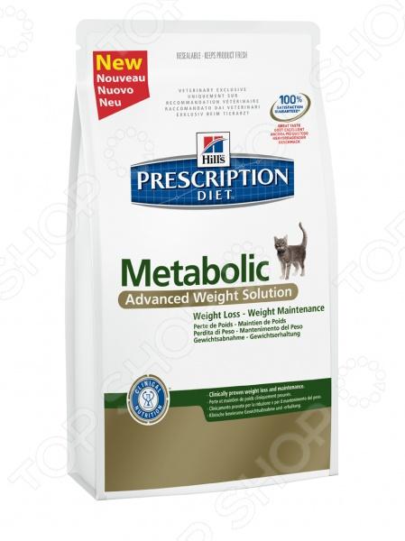 Корм сухой диетический для кошек Hill 39;s Metabolic относится к кормам премиум класса и представляет собой полноценное и сбалансированное питание для вашего питомца. Рацион изготовлен из натуральных легкоусвояемых ингредиентов и обогащен уникальным комплексом антиоксидантов для поддержки иммунной системы животного. Корма Hill 39;s это результат работы лучших ветеринарных врачей, диетологов и ученых-нутрициологов. Hill 39;s Prescription Diet Metabolic Feline разработан специально, для страдающих ожирением и склонных к набору лишнего веса, кошек. В ходе экспериментов выявлено, что в течение 2-х месяцев у 81 животных значительно снизился вес и улучшилось общее самочувствие. Внимание! При приобретении данного рациона необходимо не реже, чем раз в 6 месяцев консультироваться со специалистом о необходимости его дальнейшего применения. Основные преимущества:  Клинически доказанное снижение массы тела на 1-2 в неделю.  Эффективное снижение жировой массы на 28 в течение двух месяцев.  Высокое содержание клетчатки способствует быстрому насыщению и нормальному функционированию ЖКТ.  Контроль аппетита и стимулирование расходования энергии.  Аминокислота L-лизин предотвращает потерю мышечной массы животного.  Аминокислота L-карнитин способствует ускорению процессов метаболизма и препятствует отложению жиров.  Витамины А и Е являются мощными антиоксидантами и способствует нейтрализации свободных радикалов и поддержанию иммунитета. Как перевести кошку на корм Hill 39;s Prescription Diet Metabolic Feline: Перевод животного на новый рацион рекомендуется производить постепенно в течение 7 дней . Для этого необходимо смешивать уже привычный корм с новым, каждый день увеличивая дозу последнего, до полного перехода на Hill 39;s Prescription Diet. Корм не рекомендуется к питанию:  Котятам.  Беременным и лактирующим кошкам.  Собакам. Руководство по кормлению: Для снижения веса суточную норму кормления следует рассчитывать исходя из идеального веса тела, а не веса на момент начала примене