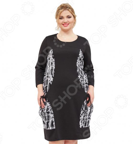 Платье Grace «Прекрасный силуэт»Повседневные платья<br>Платье Grace Прекрасный силуэт это легкое платье, которое поможет вам создавать невероятные образы, всегда оставаясь женственной и утонченной. Грамотный крой и цвет скрывают недостатки фигуры и подчеркивают достоинства. В этом платье вы будете чувствовать себя блистательно как на празднике, так и на вечерней прогулке по городу.  Элегантное платье с необычным абстрактным рисунком по бокам, декорировано завязками.  Удобные рукава 3 4.  Круглый вырез горловины подчеркнет красоту вашей шеи.  Модель средней длины, прикрывает колени. Платье сшито из приятной ткани, состоящей на 60 из полиэстера и на 40 из вискозы. Материал не линяет, не скатывается, формы от стирки не теряет.<br>